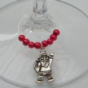 Waving Santa Wine Glass Charm - Beaded Style